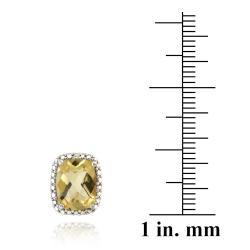 Glitzy Rocks 18k Gold over Silver Citrine and Diamond Earrings (4ct TGW) - Thumbnail 2