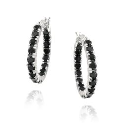 Glitzy Rocks Sterling Silver Black Spinel Hoop Earrings (4.9ct TGW)