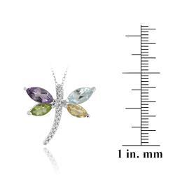 Glitzy Rocks Sterling Silver Multi-gemstone and Diamond Dragonfly Necklace