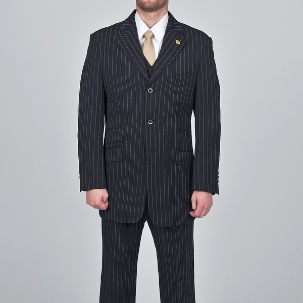 Stacy Adams Men's 3-button Black Striped Suit