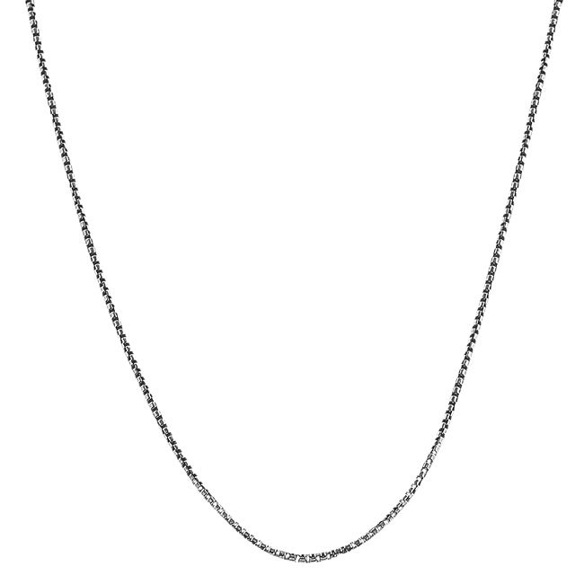 Fremada Oxidized Sterling Silver 20-inch 1.1-mm Round Box Chain