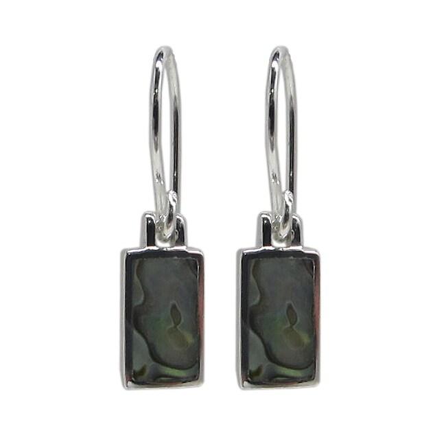 Sunstone Sterling Silver Abalone Rectangle Earrings