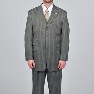Stacy Adams Men's Grey Striped 3-button Vested Suit