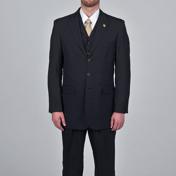 Stacy Adams Men's Black 3-button Vested Suit