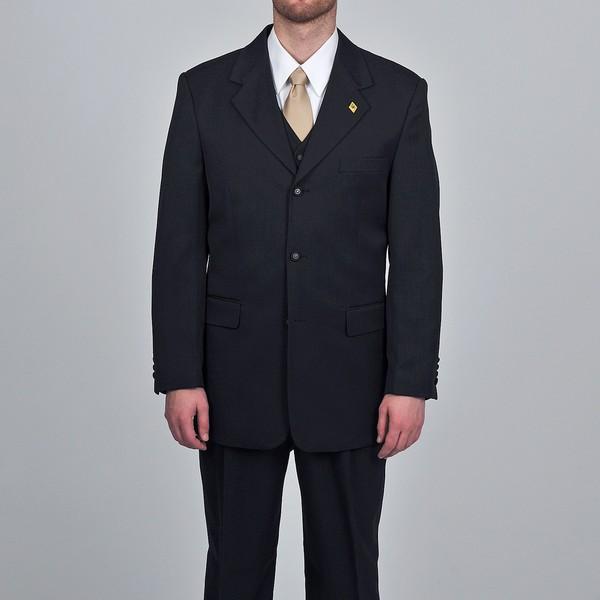 Stacy Adams Men's Black 3-piece Vested Suit