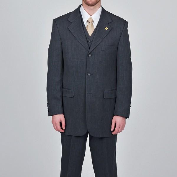 Stacy Adams Men's Charcoal Grey 3-button Vested Suit