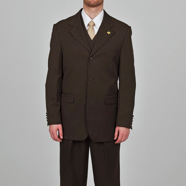 Stacy Adams Men's Dark Brown 3-button Vested Suit