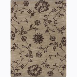 Artist's Loom Hand-tufted Transitional Floral Wool Rug (5'x7') - Thumbnail 0