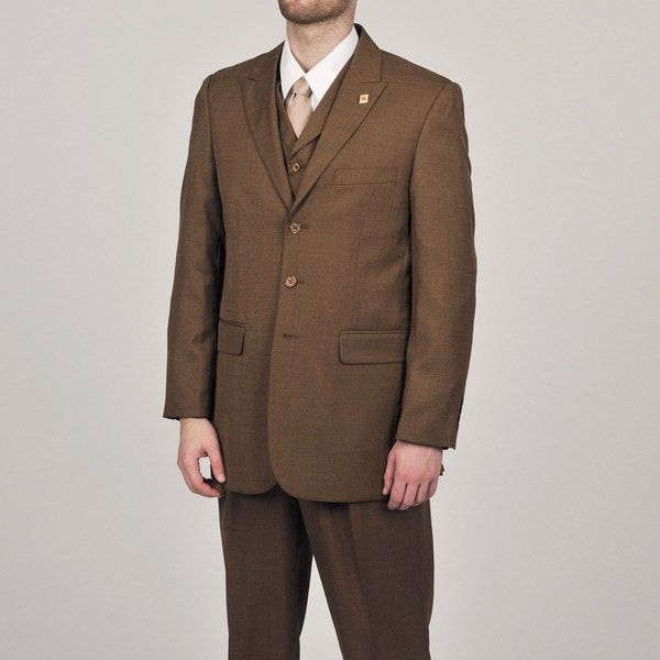 Stacy Adams Men's Rust 3-button Vested Suit
