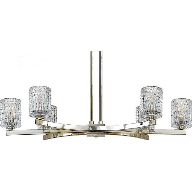 Quoizel Annalie Collection Six-Light Crystal Island Up Light Chandelier.