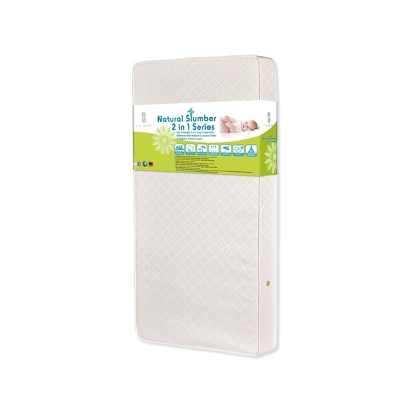 Eco Friendly 2-in-1 Soy Foam Crib Mattress with Natural Coconut Fiber and Organic Cotton Layer - Ecru