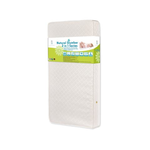 Eco Friendly 2-in-1 Soy Foam Crib Mattress with Natural Coconut Fiber and Organic Cotton Layer - Ecru