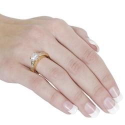 Journee Collection  Goldtone Cubic Zirconia Ring - Thumbnail 2