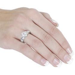 Journee Silvertone Oval-cut and Baguette-cut Cubic Zirconia Ring