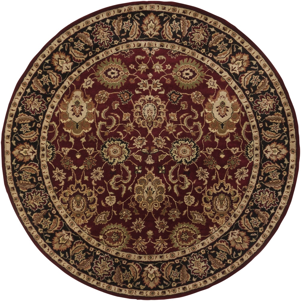Hand Tufted Mandara Red New Zealand Wool Rug 9 Round