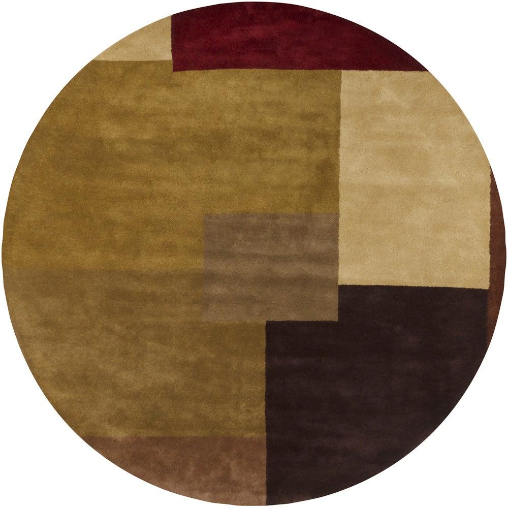 Hand-tufted Mandara Brown Geometric Wool Rug (9' Round)
