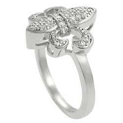 Journee Collection Silvertone Cubic Zirconia Fleur-de-Lis Ring - Thumbnail 1