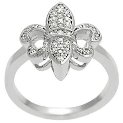 Journee Collection  Silvertone Cubic Zirconia Fleur-de-Lis Ring