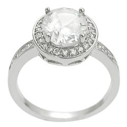 Journee Collection Silvertone Oval & Round CZ Bridal & Engagement Ring