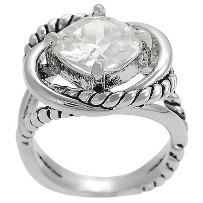 Journee Collection  Silvertone Cushion-cut Cubic Zirconia Rope-style Ring
