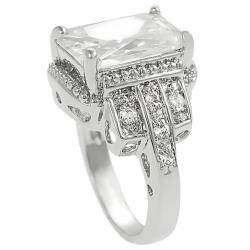 Journee Collection Silvertone Emerald and Round CZ Bridal Engagement Ring
