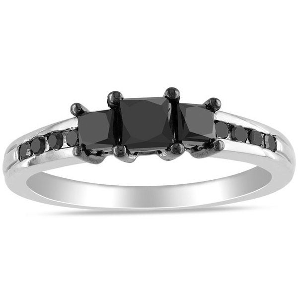 Miadora 10k White Gold 1ct TDW Princess-cut Black Diamond 3-stone Ring