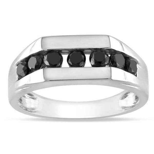 Miadora Sterling Silver 1ct TDW Black Diamond Men's Ring