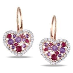 Miadora Pink Silver Amethyst, Ruby and Topaz Heart Earrings