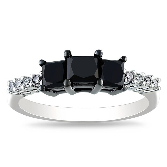 Miadora 10k White Gold 1 1/2ct TDW Black and White Diamond Ring