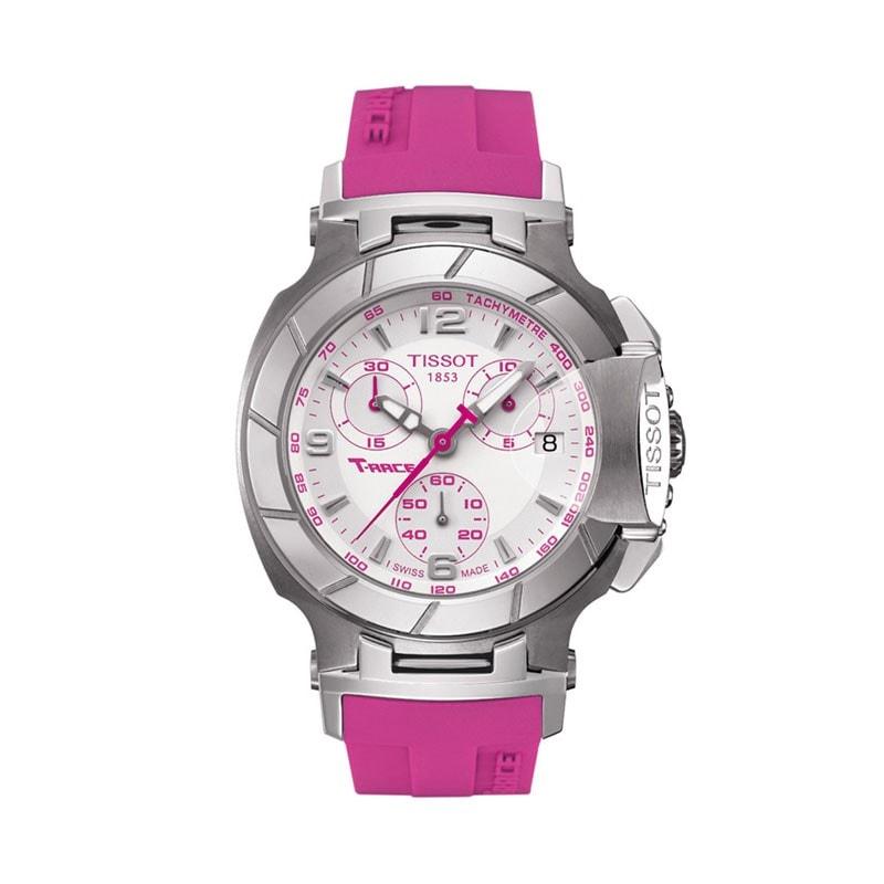 Tissot Women's T0482171701701 'T Race' White Dial Pink Strap Watch
