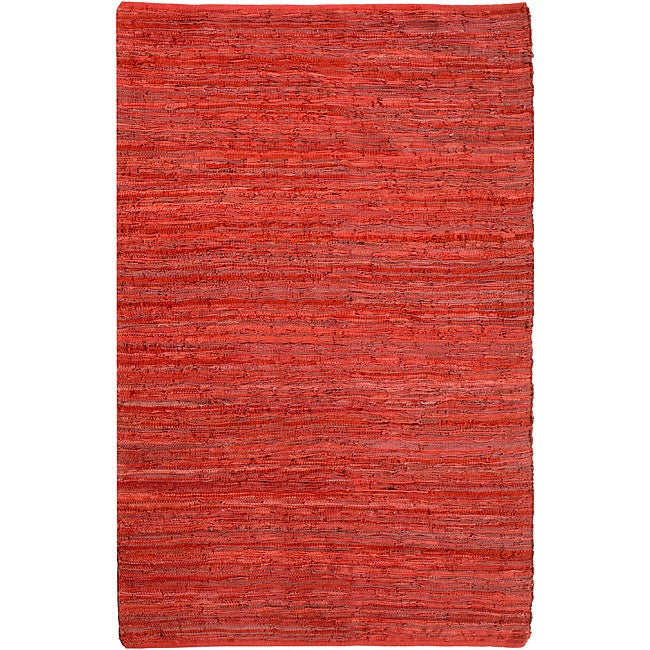 Hand-woven Matador Red Leather Rug (9' x 12')