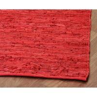 Hand-woven Matador Red Leather Rug (9' x 12') - 9' x 12'