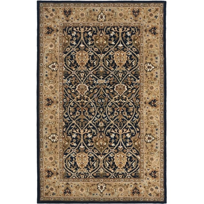Safavieh Handmade Mahal Blue/ Gold New Zealand Wool Rug (4' x 6') - Thumbnail 0