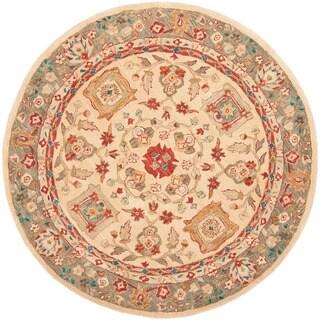Safavieh Handmade Anatolia Oriental Oushak Beige/ Green Hand-spun Wool Rug (6' Round)