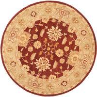 Safavieh Handmade Anatolia Oriental Farahan Red/ Sage Green Hand-spun Wool Rug (6' Round)