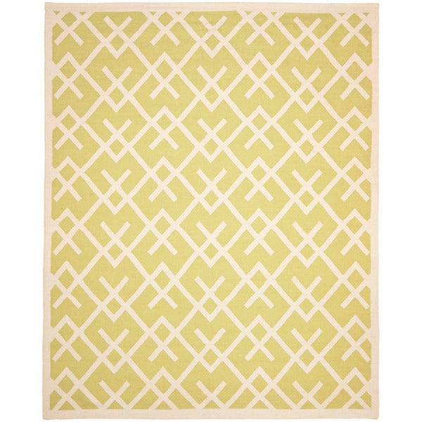 Safavieh Moroccan Lime Green/Ivory Reversible Dhurrie Transitional Wool Rug (9' x 12')