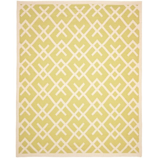 Safavieh Moroccan Lime Green/Ivory Reversible Dhurrie Transitional Wool Rug - 9' x 12'