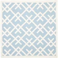 Safavieh Hand-woven Moroccan Reversible Dhurrie Light Blue/ Ivory Wool Rug (6' Square)