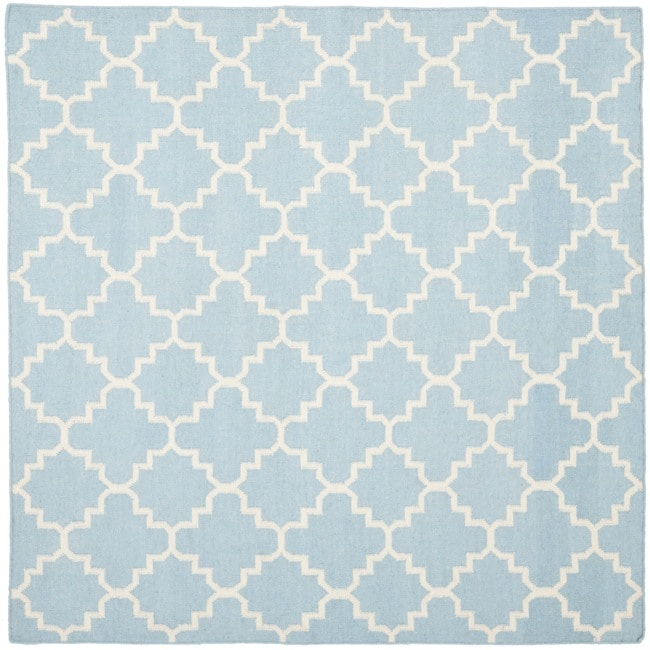 Safavieh Moroccan Light Blue/Ivory Reversible Dhurrie Wool Geometric Rug (6' Square)