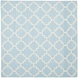 Safavieh Moroccan Light Blue/Ivory Reversible Dhurrie Wool Geometric Rug - 6' x 6' Square - Thumbnail 0