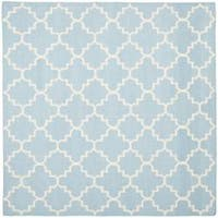 Safavieh Moroccan Light Blue/Ivory Reversible Dhurrie Wool Geometric Rug - 6' x 6' Square