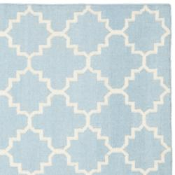 Safavieh Hand-woven Moroccan Reversible Dhurrie Light Blue/ Ivory Wool Rug (8' Square) - Thumbnail 1