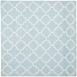 Safavieh Hand-woven Moroccan Reversible Dhurrie Light Blue/ Ivory Wool Rug (8' Square)