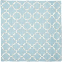 Safavieh Hand-woven Moroccan Reversible Dhurrie Light Blue/ Ivory Wool Rug - 8' x 8' Square