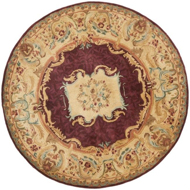 Safavieh Handmade Aubusson Limours Burgundy/ Gold Wool Rug (8' Round)