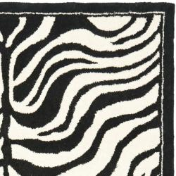 Safavieh Handmade New Zealand Wool Zebra Black and Ivory Rug (3'6 x 5'6')