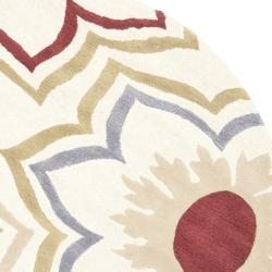 Safavieh Handmade Memories Ivory New Zealand Wool Rug (6' Round) - Thumbnail 1