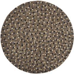 Safavieh Handmade Sprinkles Dark Grey New Zealand Wool Rug (6' Round)