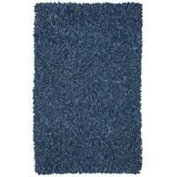 Hand-tied Pelle Blue Leather Shag Rug (5' x 8') - 5' x 8'
