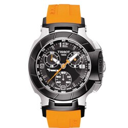 Tissot Women's T048.217.27.057.00 'T Race' Black Dial Orange Strap Watch